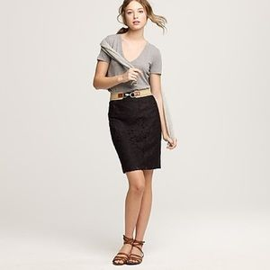 J. Crew Heirloom Lace Navy Pencil Skirt